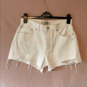 Free People White High Waisted Jean Sofia Shorts